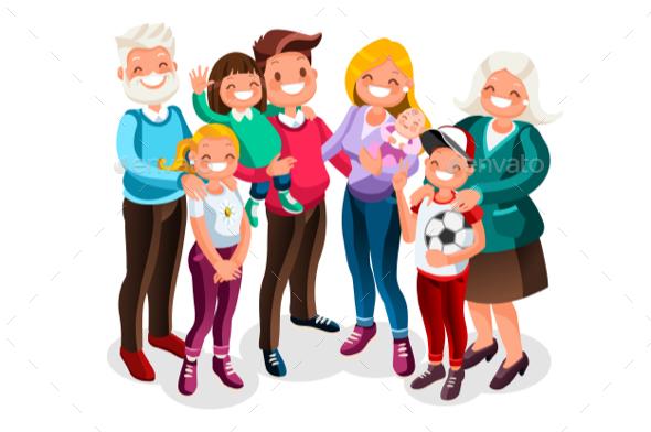 Baby Big Family Vector Portrait - Vectors