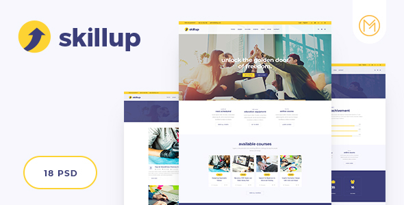 skillup - Education PSD Template for Training and Education Center - Business Corporate