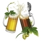 Two Mugs with Dark Light Beer and Hops - GraphicRiver Item for Sale