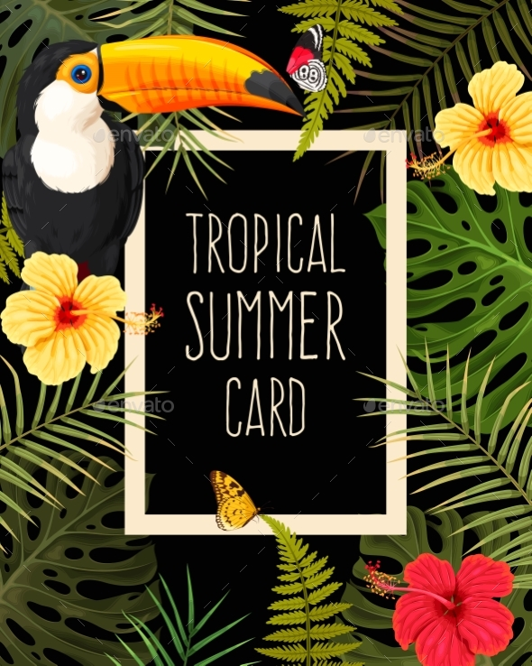 Tropical Summer Card - Flowers & Plants Nature