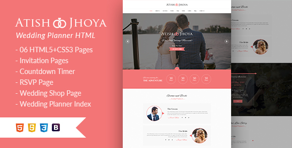 Atish and Jhoya - Responsive HTML5 Wedding Template - Wedding Site Templates
