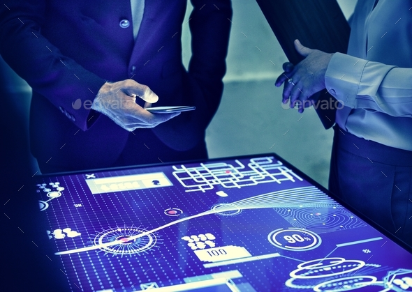 Hand holding using smartphone in a technology meeting - Stock Photo - Images