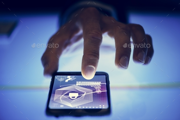 Finger touch smartphone screen with privacy protection - Stock Photo - Images