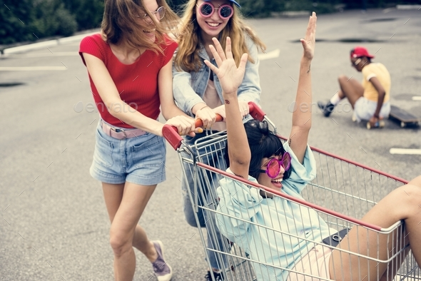 A group of diverse woman friends having fun together - Stock Photo - Images
