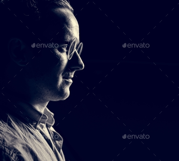 Side profile of caucasian man - Stock Photo - Images