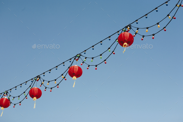 Chinese lanterns in the sky - Stock Photo - Images