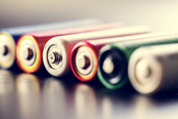 Pile of alkaline battery background - Stock Photo - Images