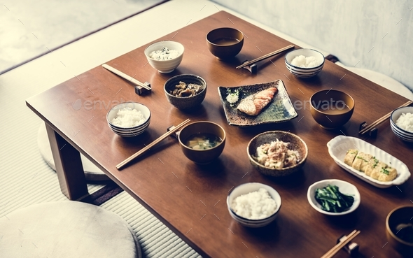 Japanese food set on the table - Stock Photo - Images