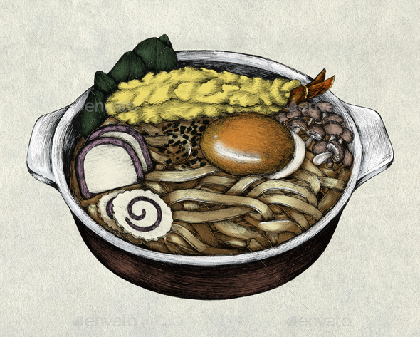 Hand drawn udon Japanese cuisine - Stock Photo - Images