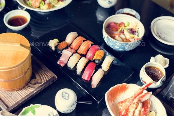 Japanese dining sushi healthy food - Stock Photo - Images