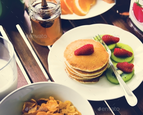 Closeup of pancake top with strawberry breakfast - Stock Photo - Images