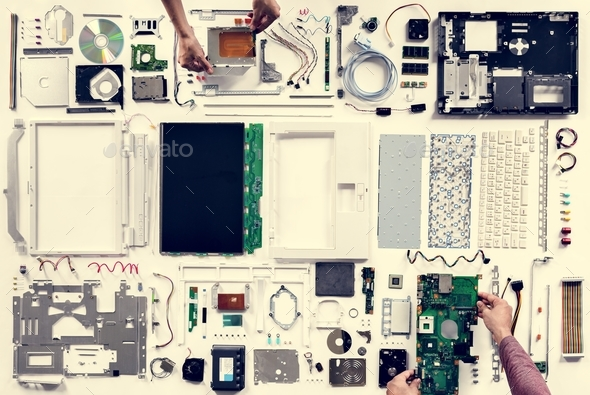 Aerial view of computer parts isolated on white - Stock Photo - Images