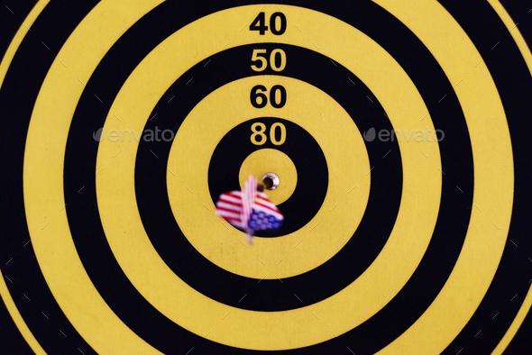 Bullseye score on a dartboard - Stock Photo - Images