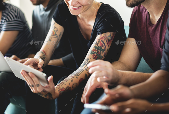 Peopl using digital device - Stock Photo - Images