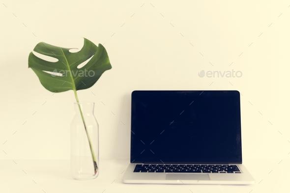 laptop on white background minimal style - Stock Photo - Images