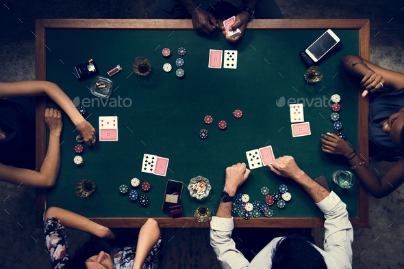 Aerial of people playing gamble in casino - Stock Photo - Images