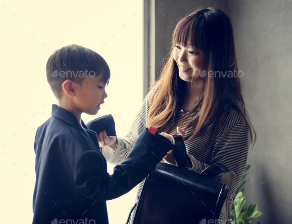 Japanese mother and son - Stock Photo - Images