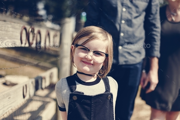 Cheerful pretty little girl - Stock Photo - Images
