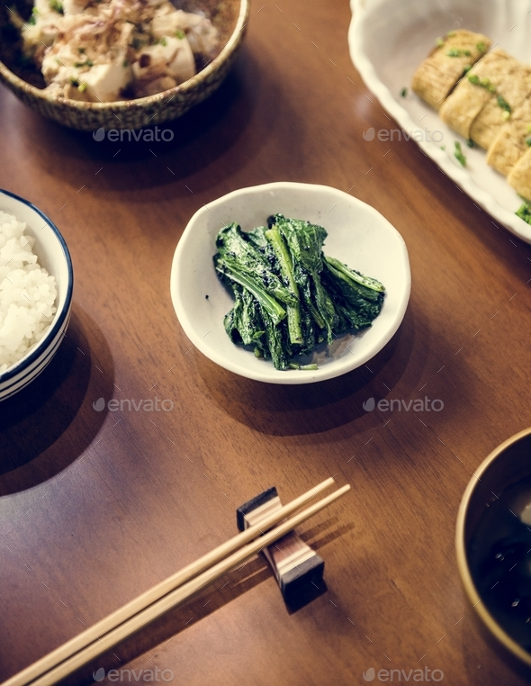 Japanese dining healthy food on wooden table - Stock Photo - Images