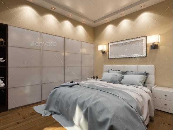 3D Render of Interior Design of a Bedroom in Beige - Architecture 3D Renders