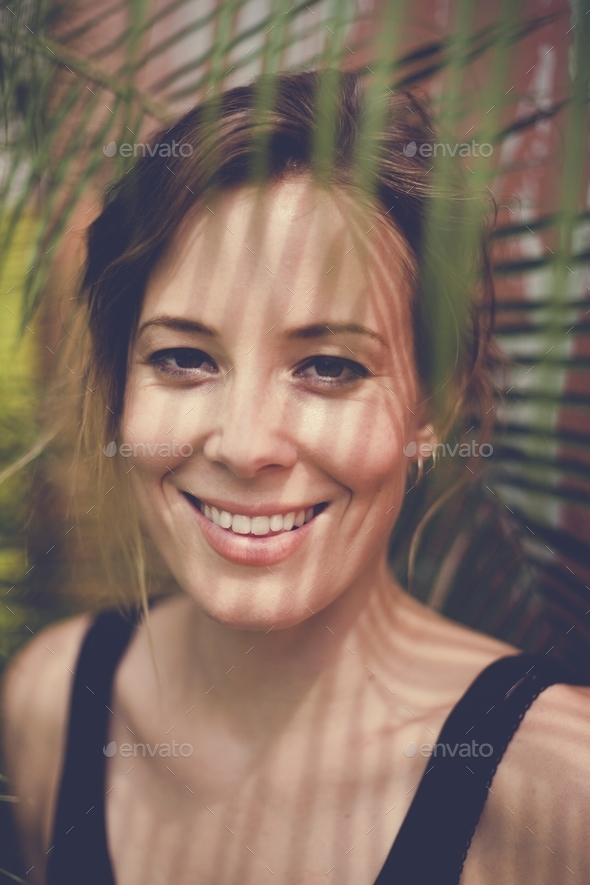 Portrait of caucasian beautiful woman in outdoors - Stock Photo - Images