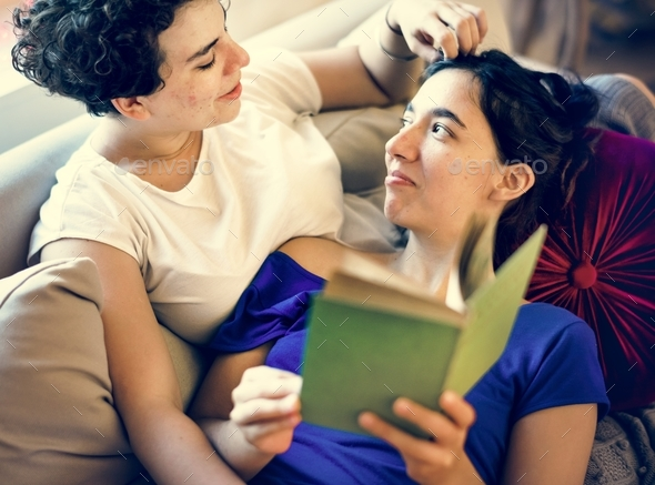 Lesbian couple spending time together - Stock Photo - Images