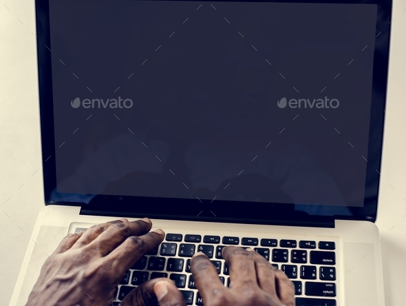 Hands working typing on laptop - Stock Photo - Images