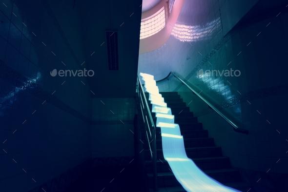 Blue lights long exposure technique - Stock Photo - Images