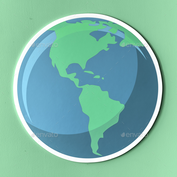 Cut out paper globe icon - Stock Photo - Images