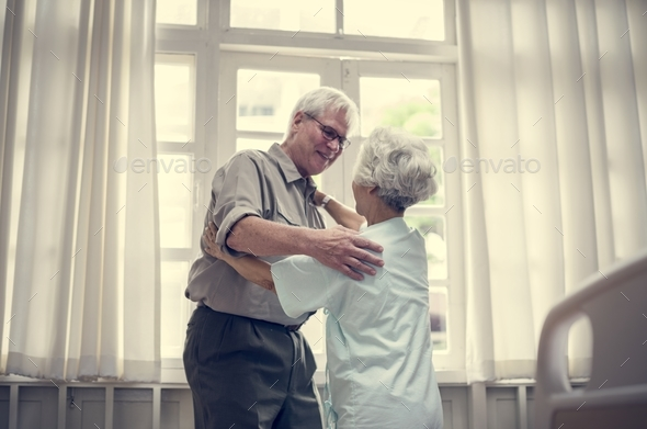 Old couple patient at a hospital - Stock Photo - Images