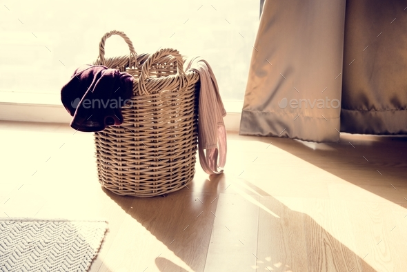 Closeup of clothes wooden basket - Stock Photo - Images