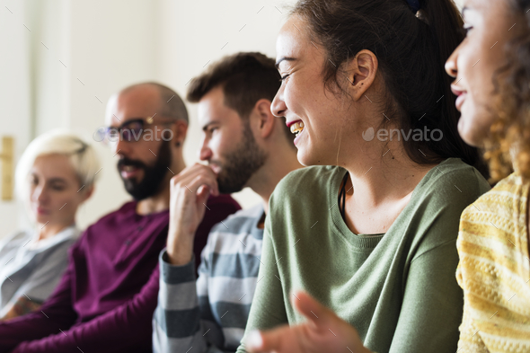 Group of diverse people talking together - Stock Photo - Images