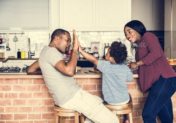 Black family spending time together - Stock Photo - Images