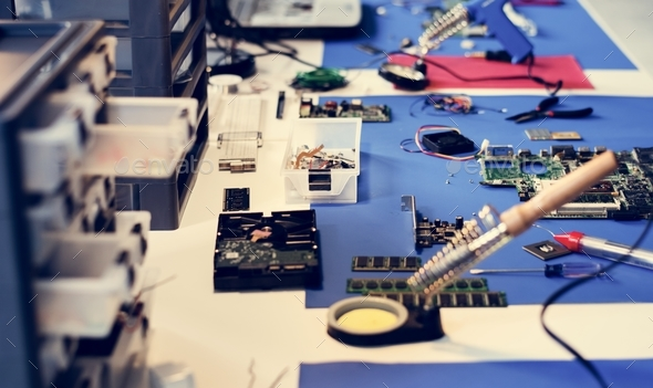 Various electronic tools on the table - Stock Photo - Images