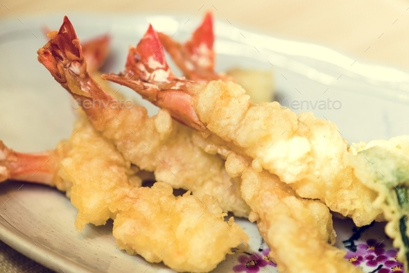 Prawn tempura famous dish japanese food - Stock Photo - Images