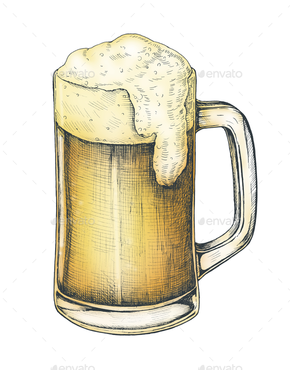 Hand drawn beer alcoholic drink - Stock Photo - Images