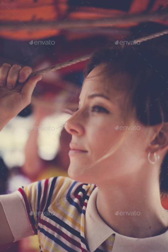 Beautuful woman tourist on the ferry - Stock Photo - Images