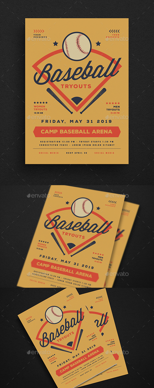 Baseball Tryouts Flyer - Sports Events