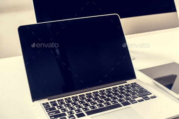 Laptop with mockup cyber-space monitor - Stock Photo - Images