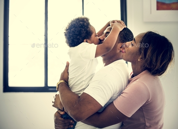 Black family enjoy precious time together happiness - Stock Photo - Images