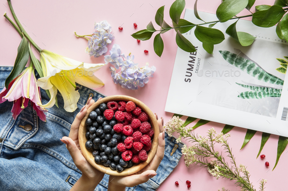 Fresh summer berries and flowers - Stock Photo - Images