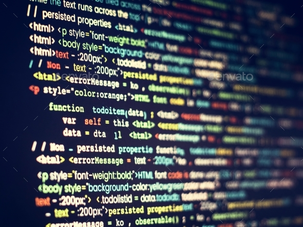 Computer program coding on screen - Stock Photo - Images