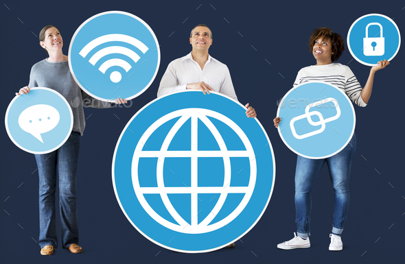 Diverse people with social media icons - Stock Photo - Images