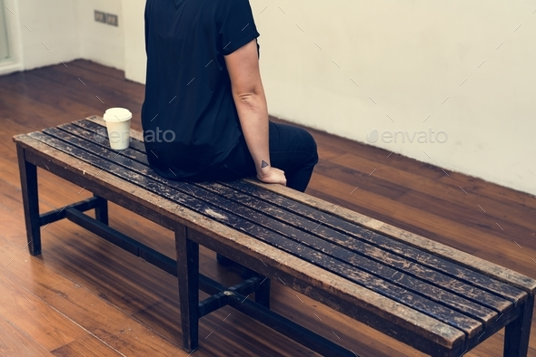 person sitting and taking a break - Stock Photo - Images