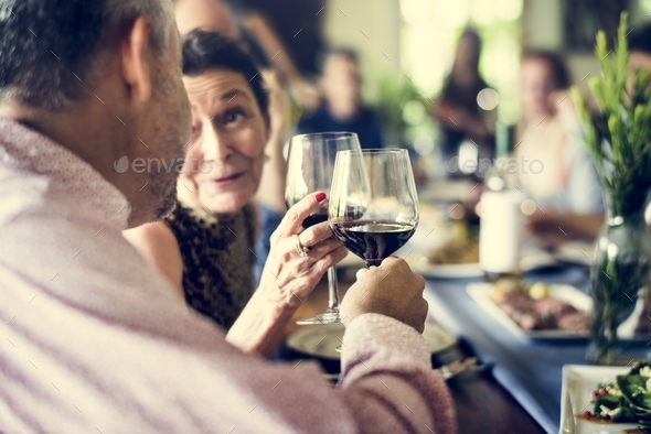 Group of diverse friends are celebrating together - Stock Photo - Images