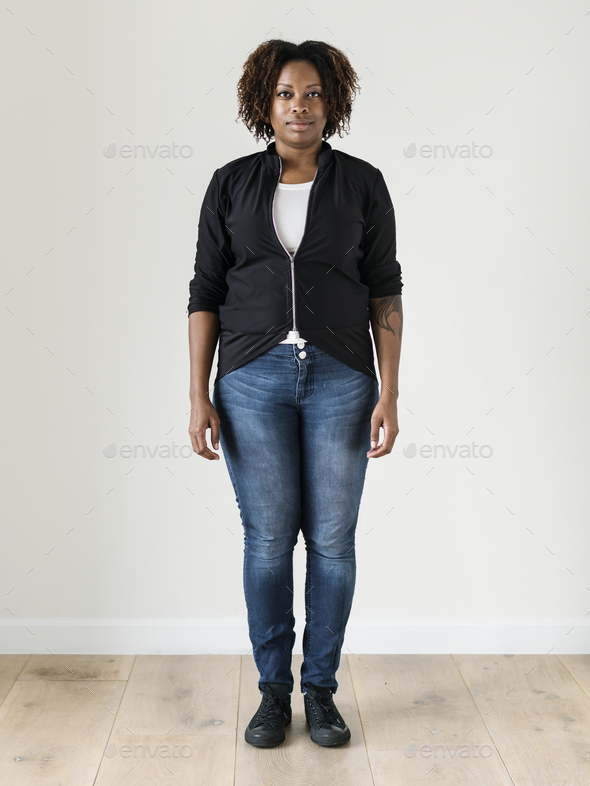 Portrait of black woman full body - Stock Photo - Images