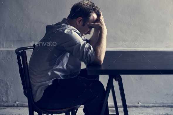 Man with depress feeling expression - Stock Photo - Images