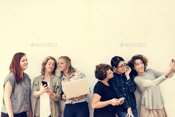 Diverse group of women hanging out - Stock Photo - Images