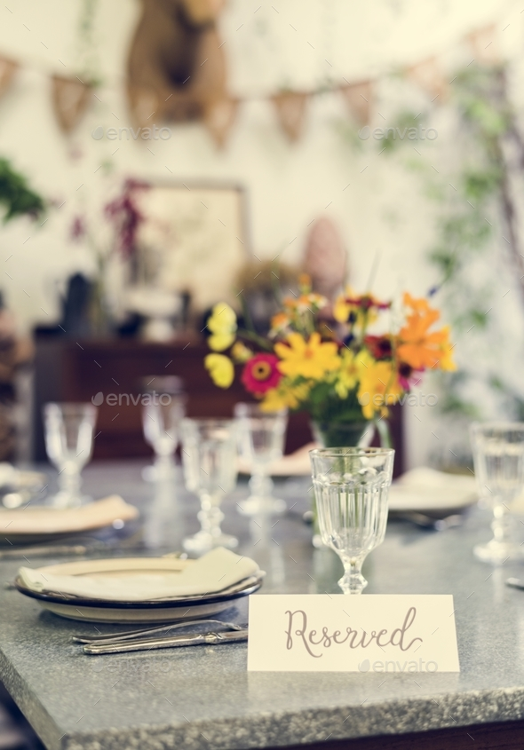 Table reserved in a cafe - Stock Photo - Images