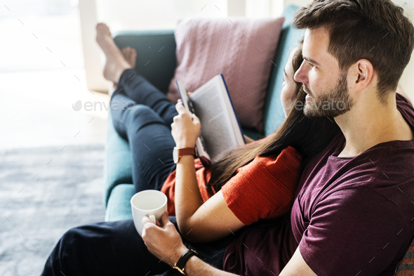 Couple spending weekend together at home - Stock Photo - Images